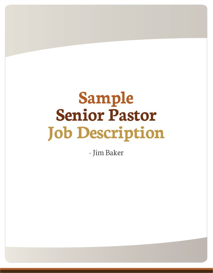 Sample Senior Pastor Job Description  Sacred Structures By Jim
